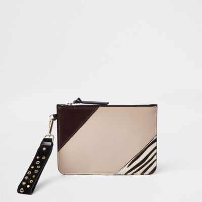 Beige Leather Studded Strap Pouch Clutch Bag by River Island