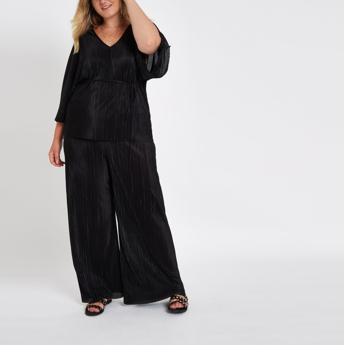 Plus black plisse trousers