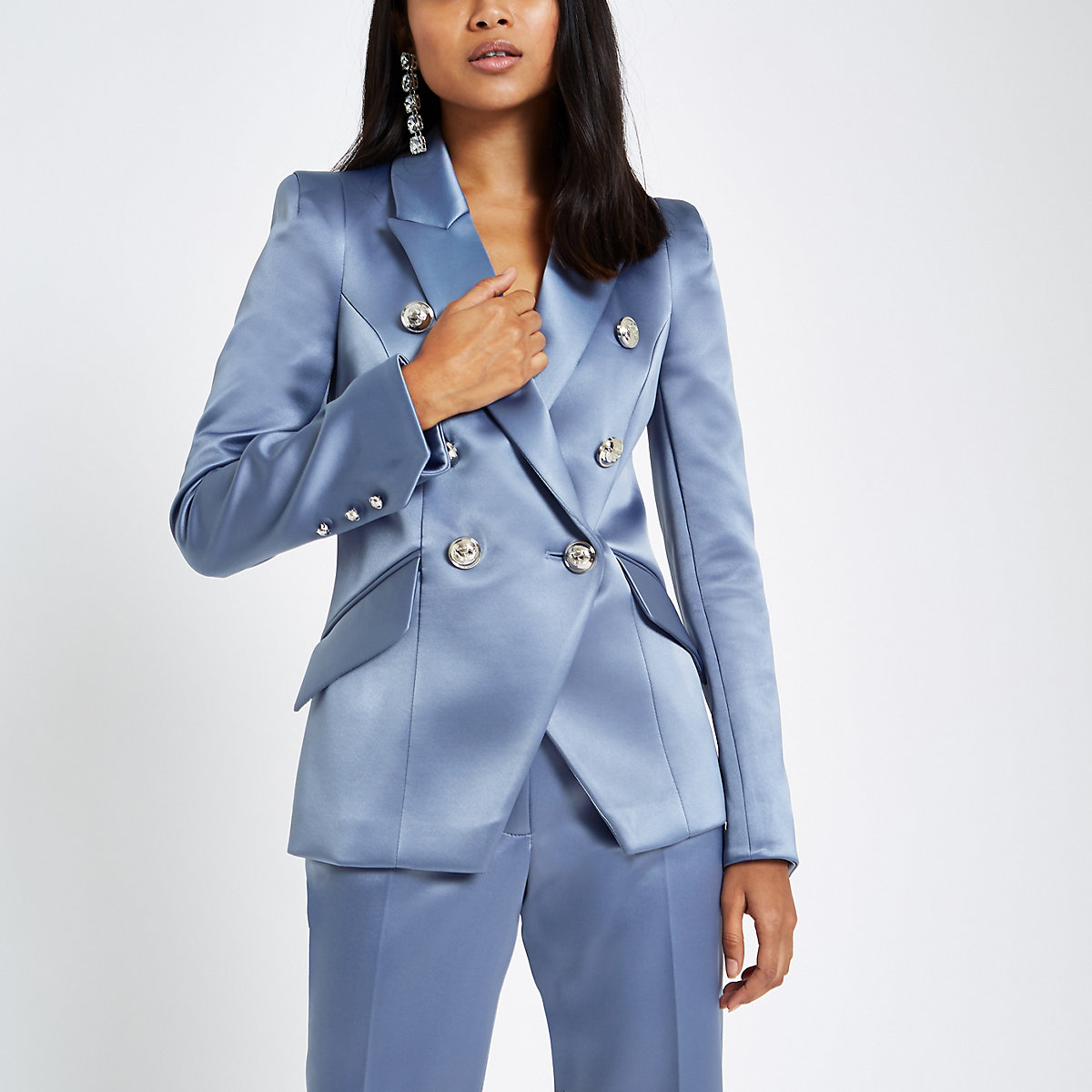 Petite blue satin double breasted blazer