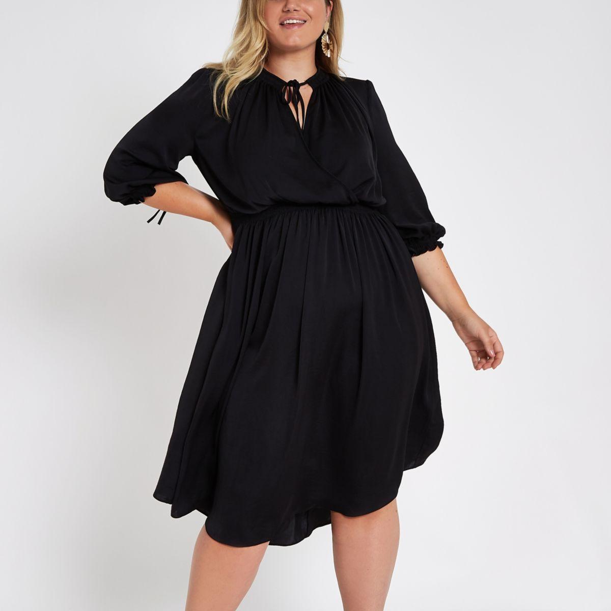 Plus black shirred waist swing dress