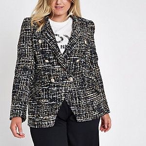 Plus black boucle double-breasted jacket