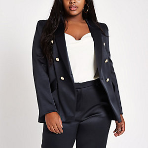 Plus navy double breasted tux jacket
