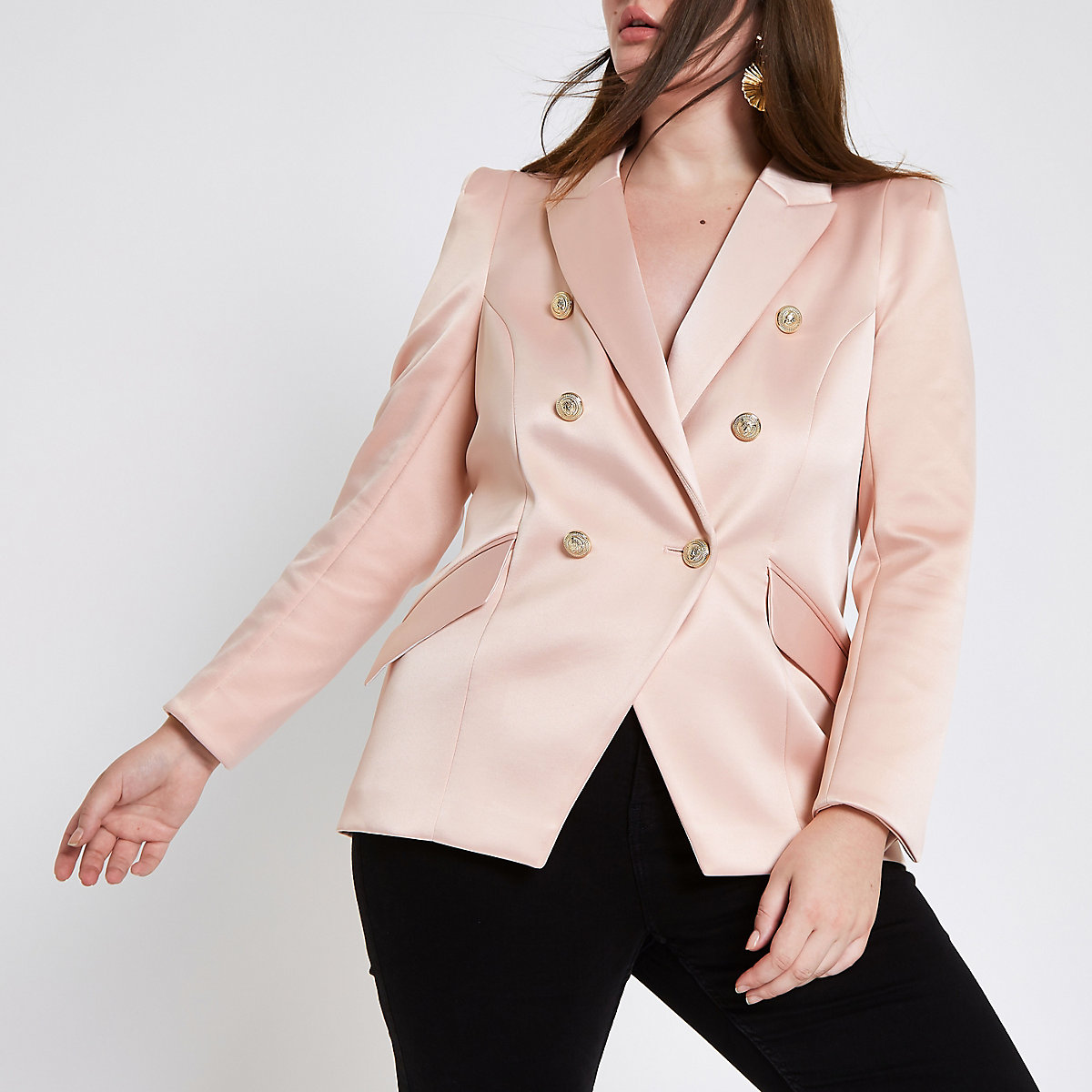 Plus pink satin double breasted tux jacket