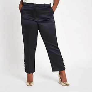 RI Plus - Marineblauwe smaltoelopende broek met knopen