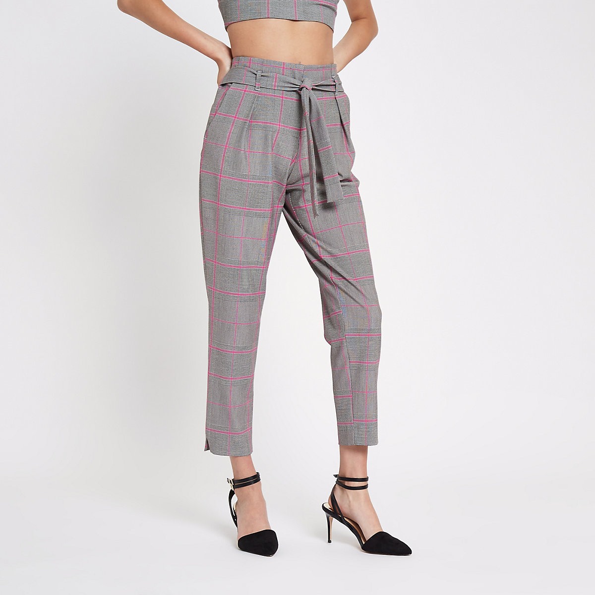 Pink check tapered trousers