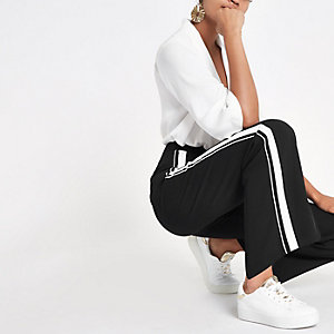 Black straight leg side stripe trousers