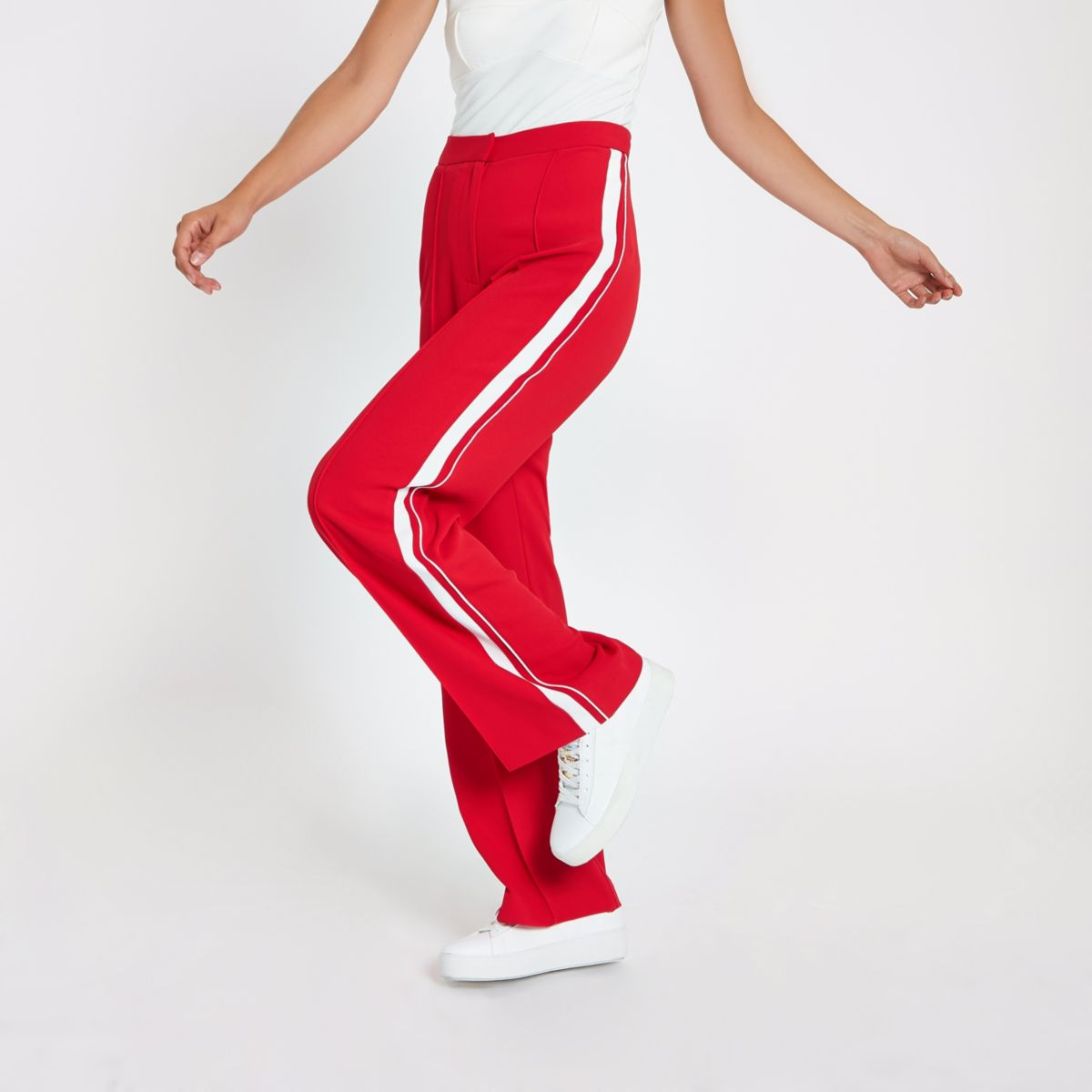 Red stripe side straight leg pants