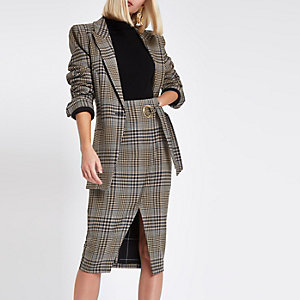 Brown check wrap tie-up pencil skirt