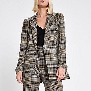 Brown check print velvet stripe fitted blazer