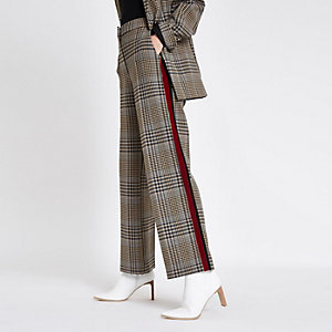 Brown side stripe straight leg pants