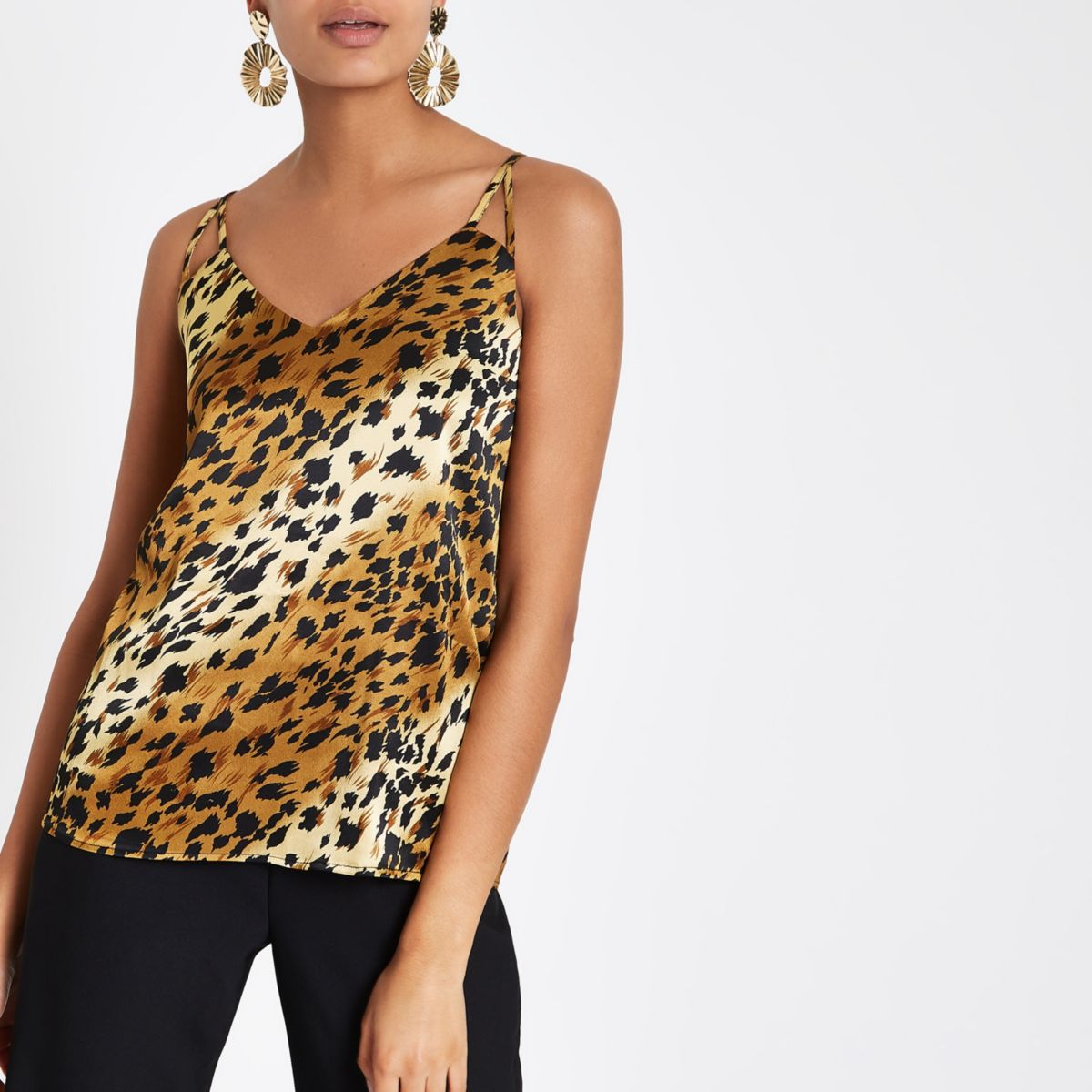 Brown leopard print cami top