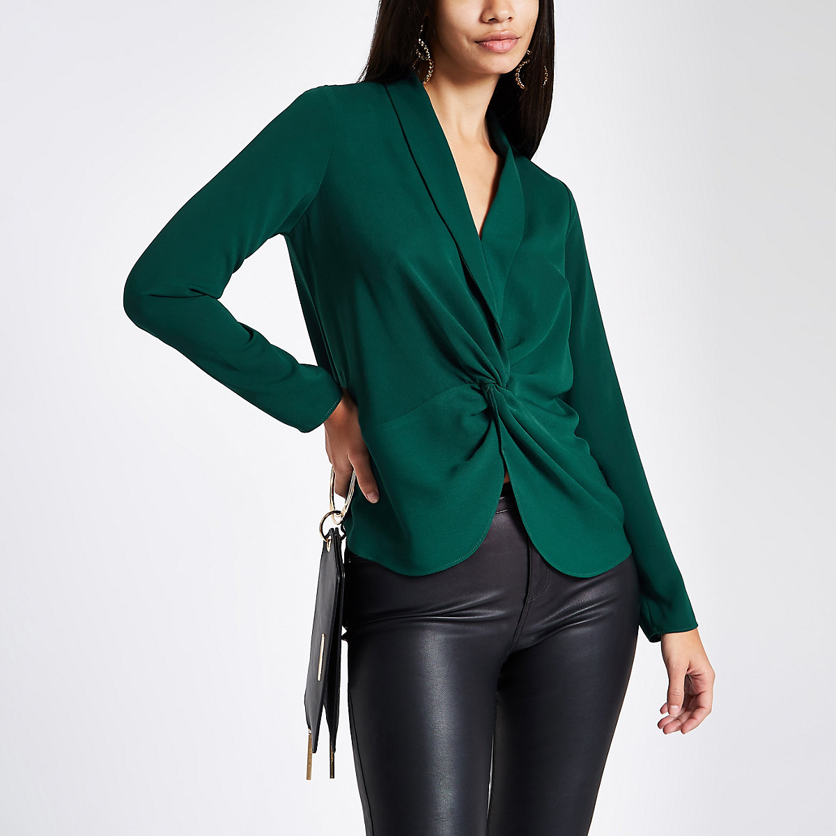 Green twist front long sleeve blouse