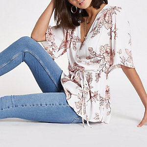 Cream floral print wrap top