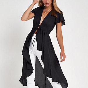 Donkergrijze kimono met korte mouwen