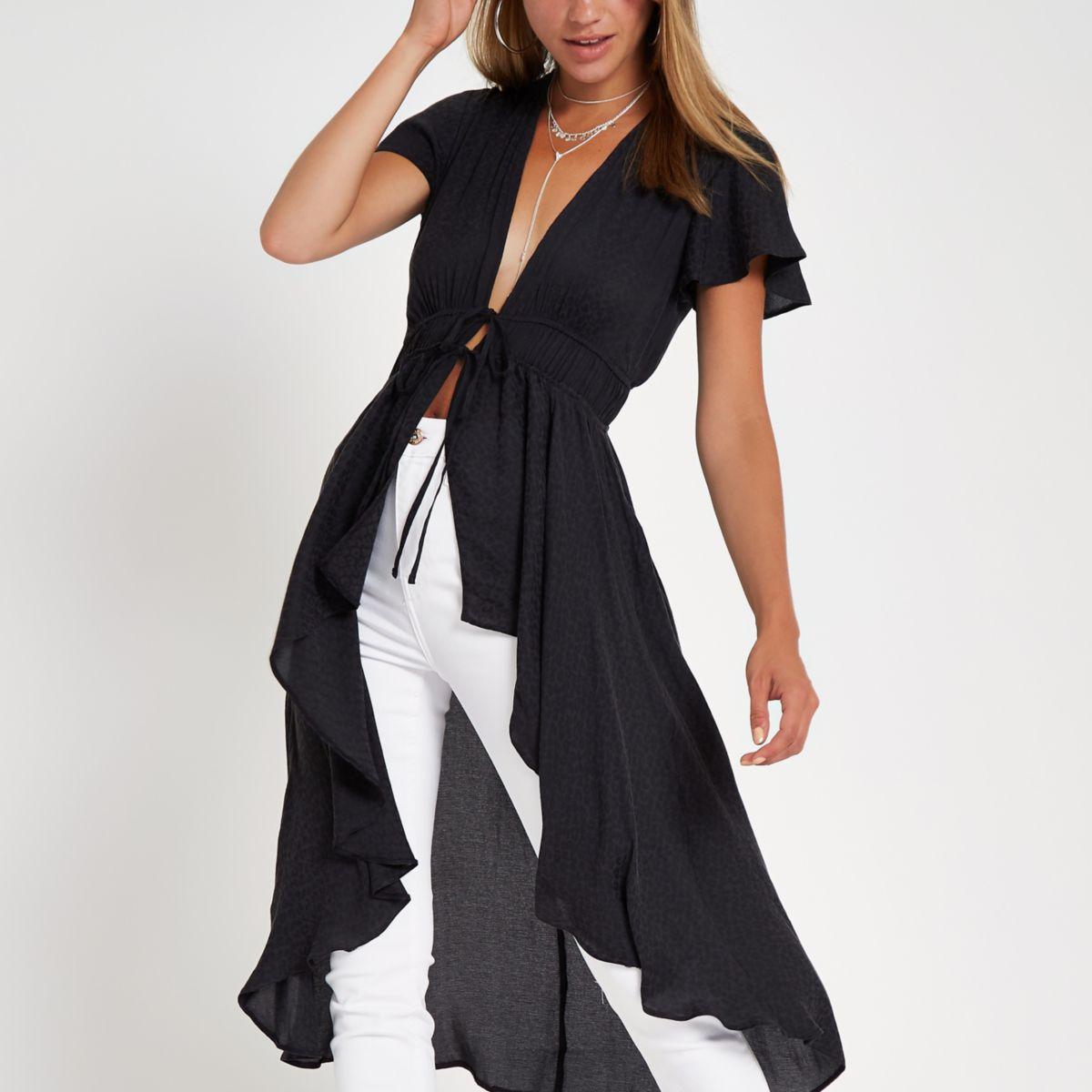 Dark grey short sleeve kimono