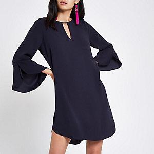 Navy frill sleeve swing dress