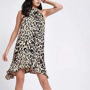 Brown leopard print halter neck swing dress