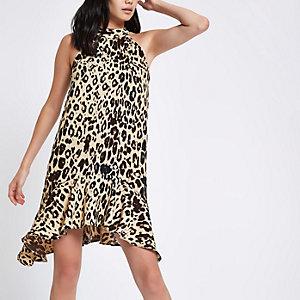 Brown leopard print halter neck swing dress
