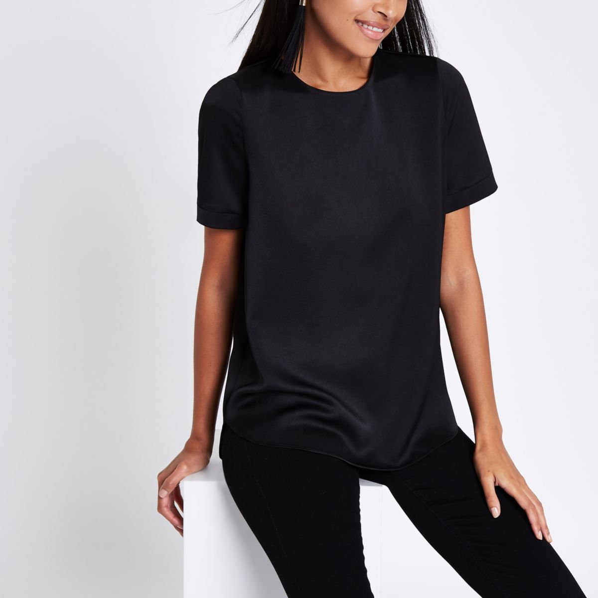 Black zip back loose fit T-shirt