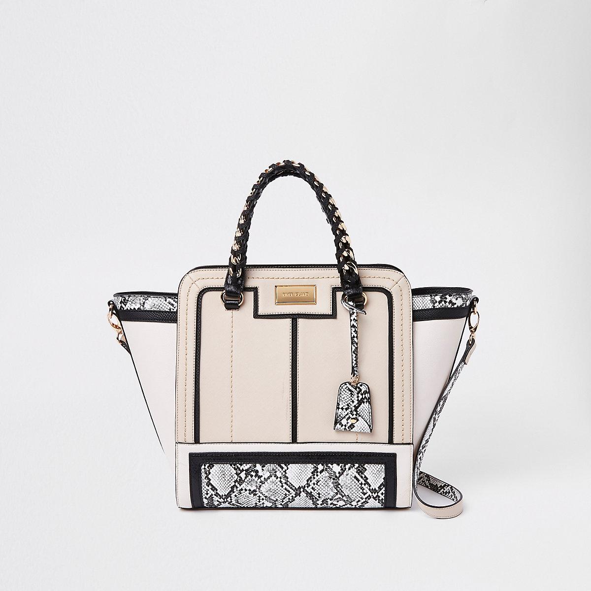 Beige Snake Print Contrast Winged Tote Bag