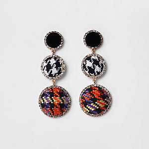Black check rhinestone boucle drop earrings