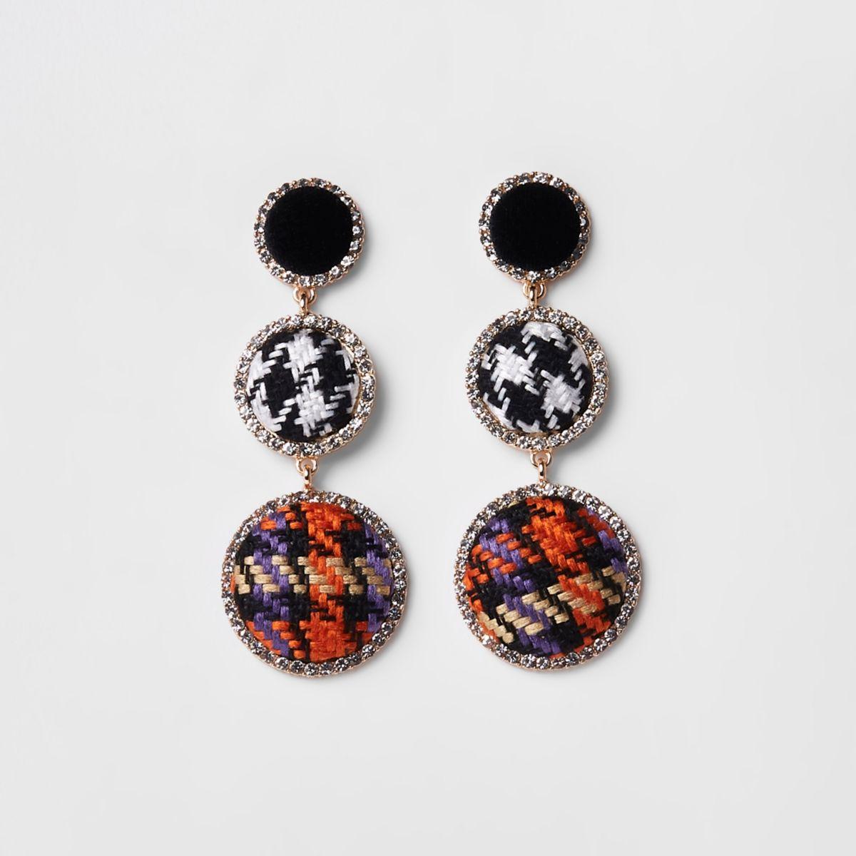 Black check rhinestone boucle drop earrings