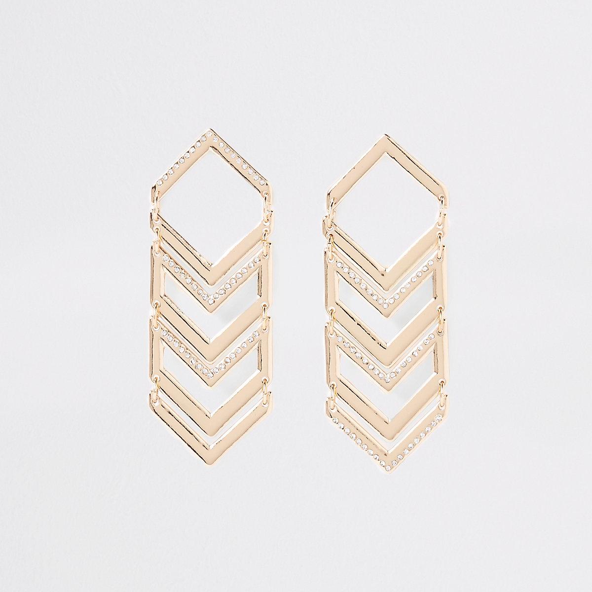 Gold tone triangular stud drop earrings