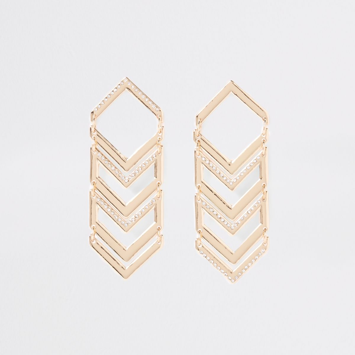 Gold tone triangular stud drop earrings