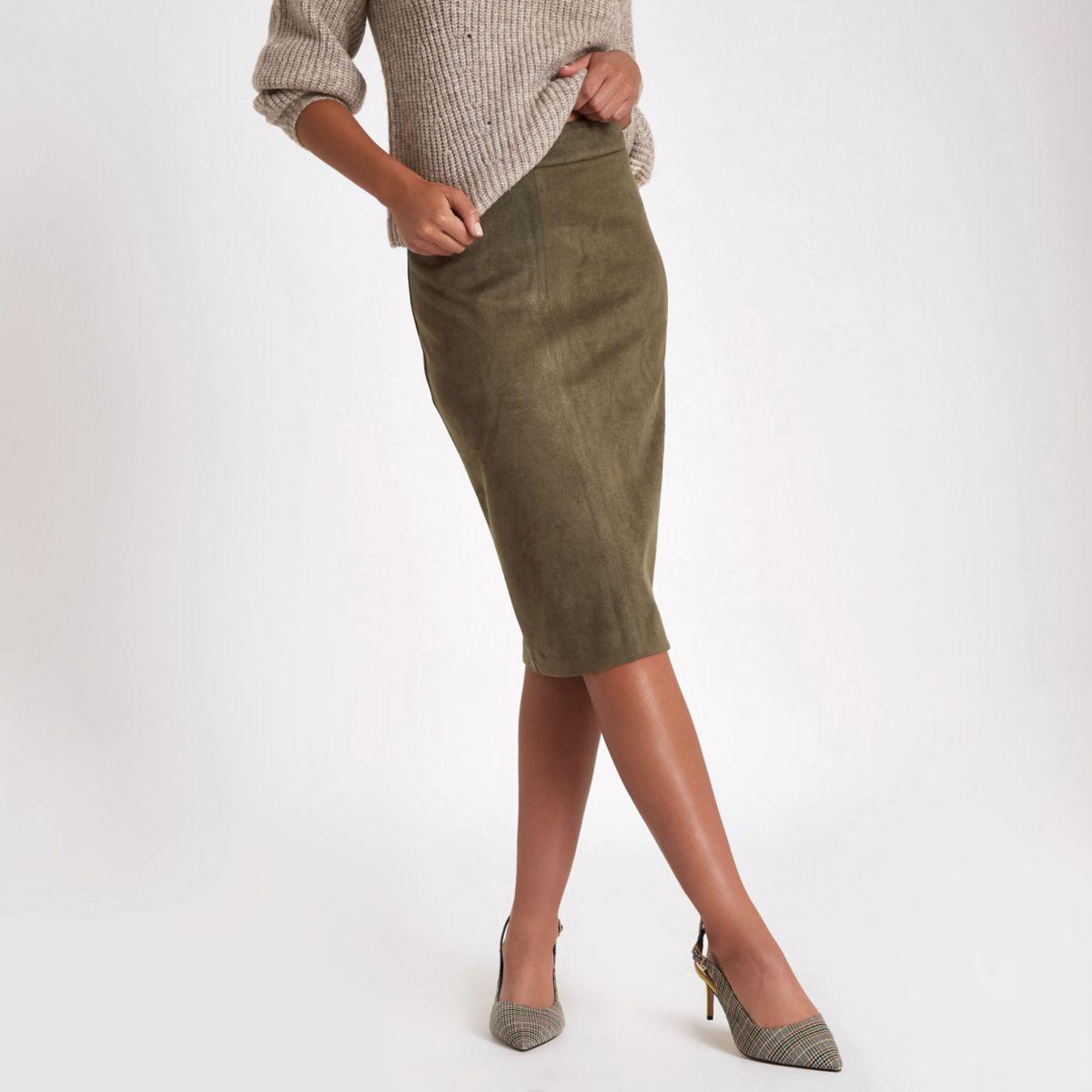 Khaki faux suede pencil skirt