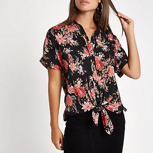 Black floral printed tie front shirt