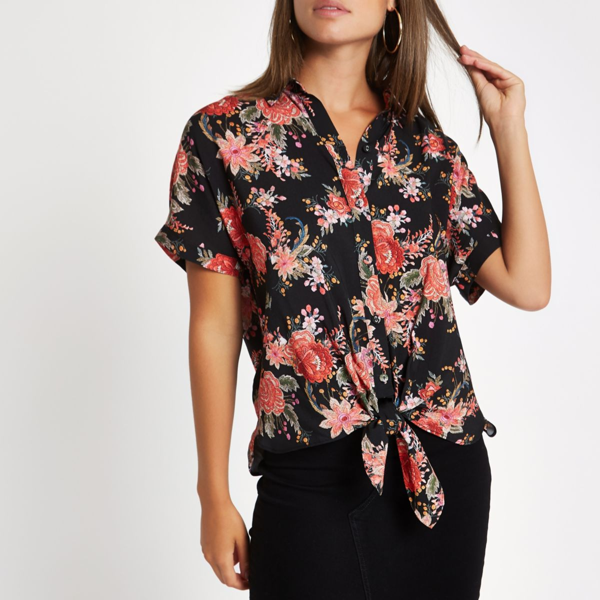 Black floral printed tie front shirt