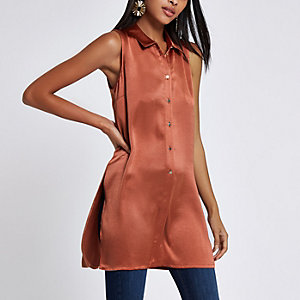 Copper sleeveless longline shirt