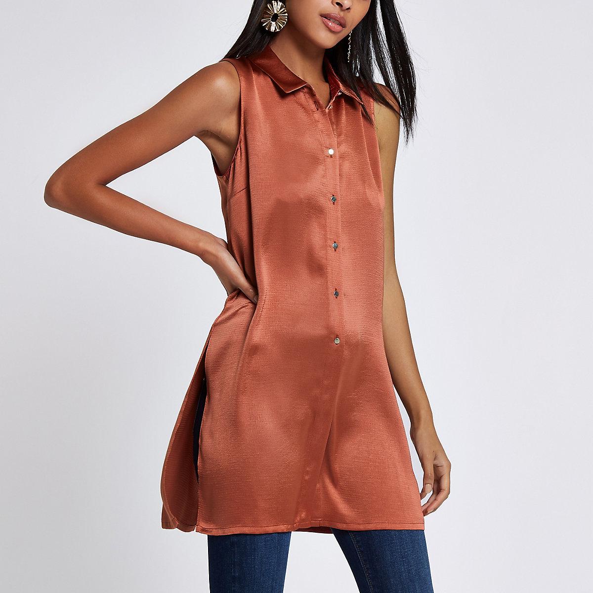 Copper sleeveless longline shirt