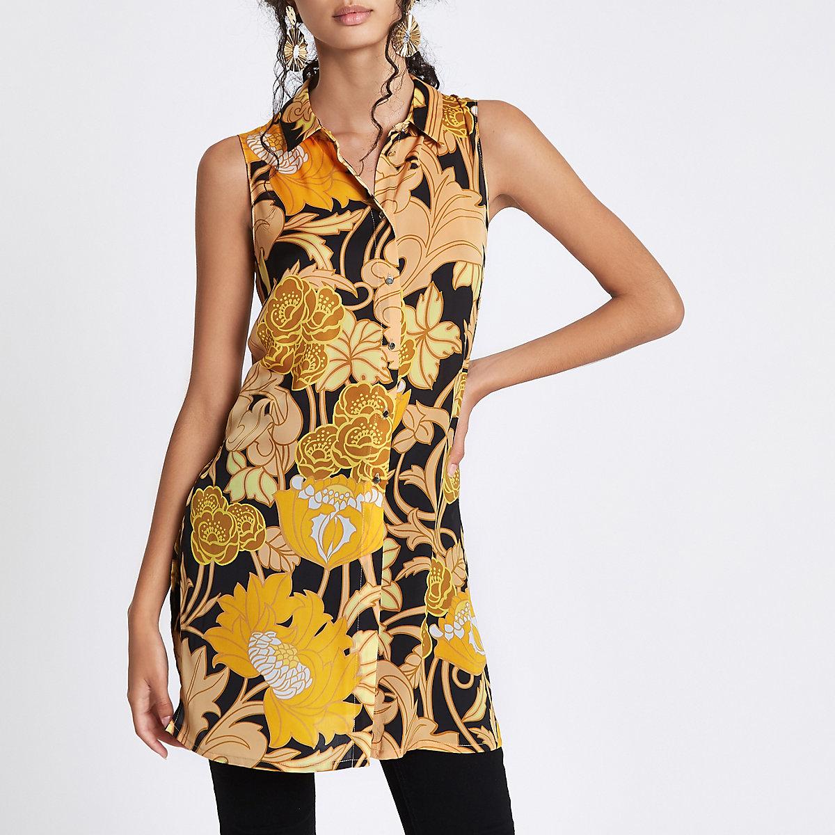 Ärmelloses, langes Hemd in Gelb mit Blumen
