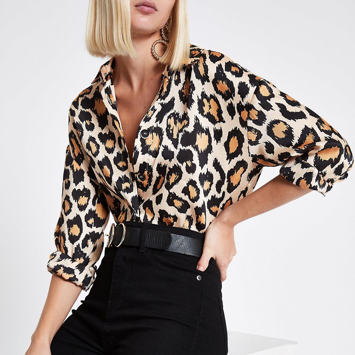 Brown leopard print tie waist shirt