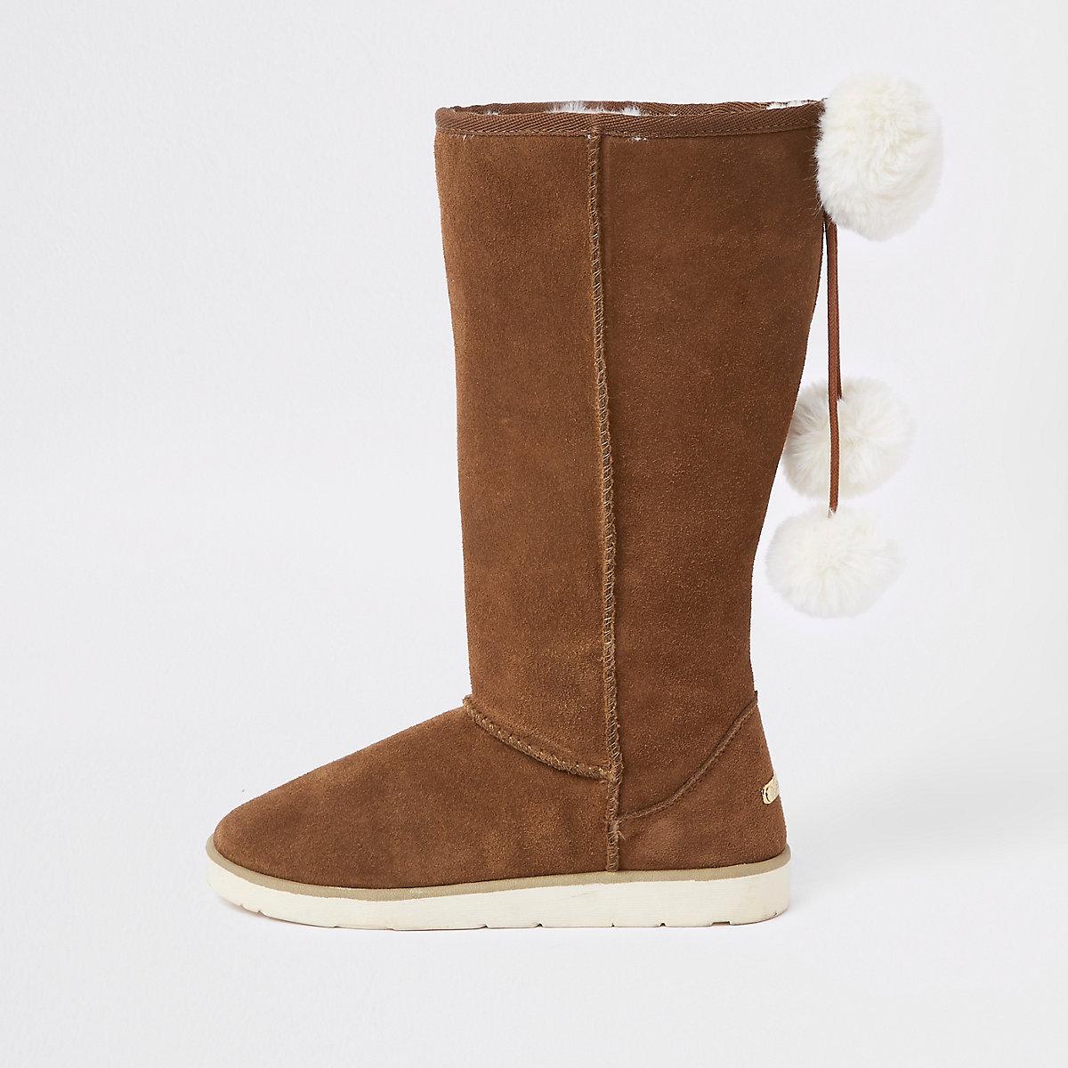 Light brown suede faux fur pom pom boots