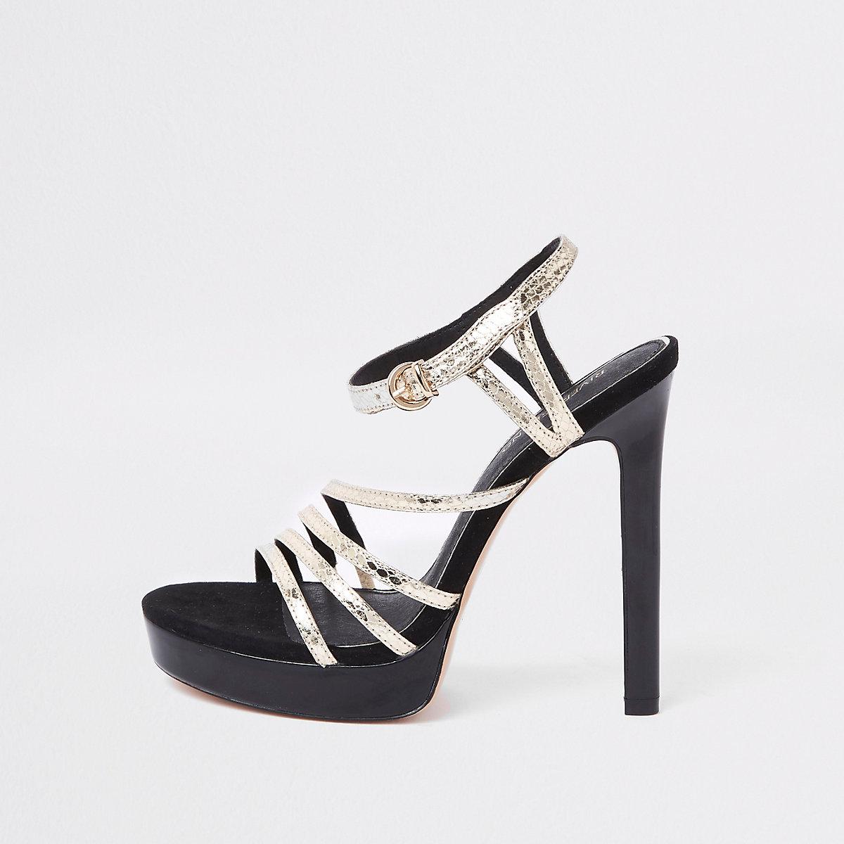 Black strappy metallic platform sandals