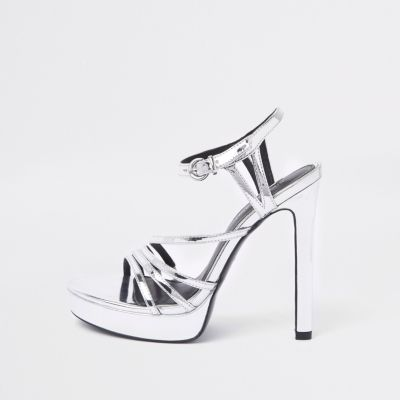 Silver Tone Strappy Platform Sandals by River Island