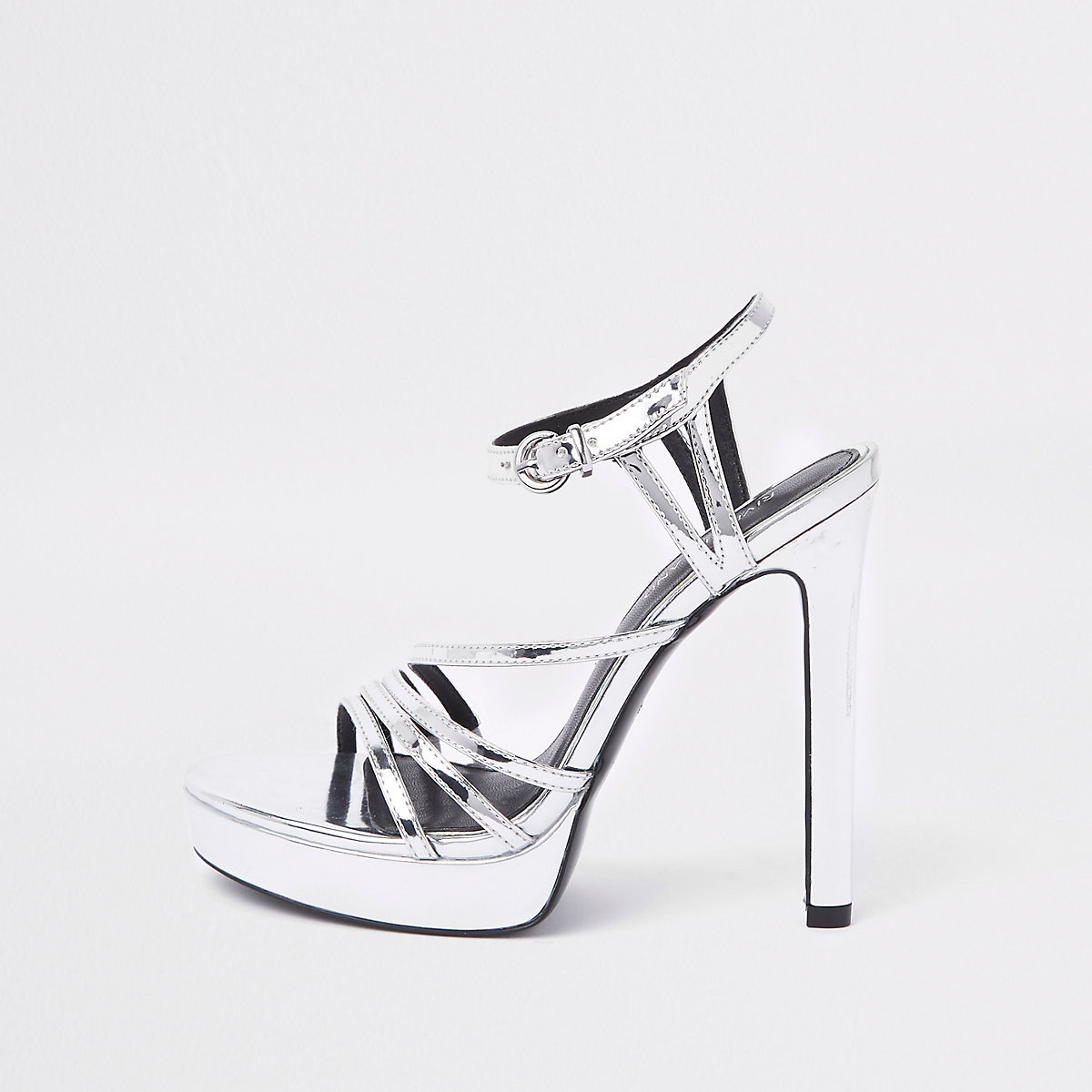 Silver tone strappy platform sandals