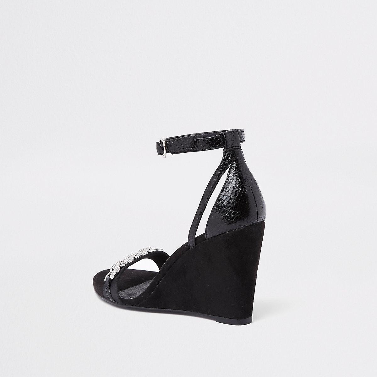 En Schoenen Zwarte Sandalen Sleehak Met Siersteentjes q1FtZ