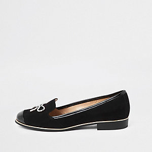 Black gold tone bow loafers