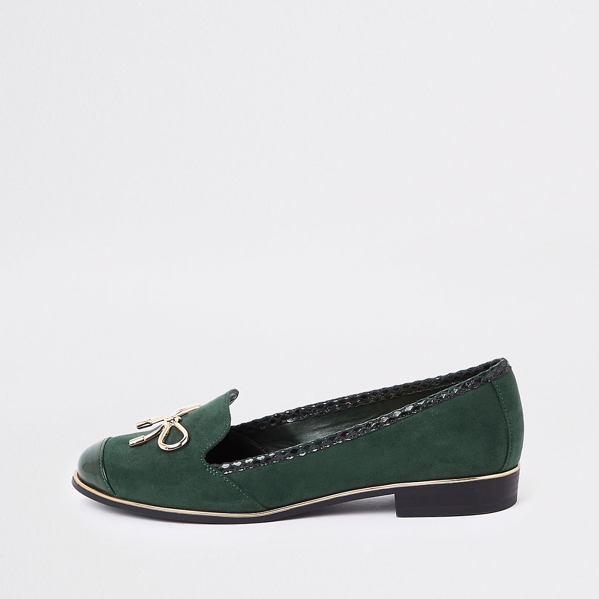 Green gold tone bow loafers