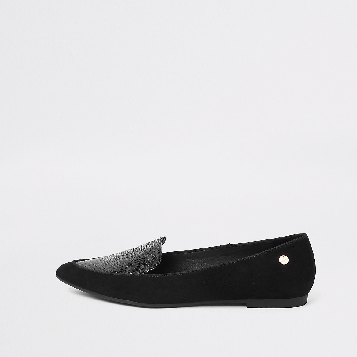 Zwarte platte schoenen met puntneus en krokodilleneffect