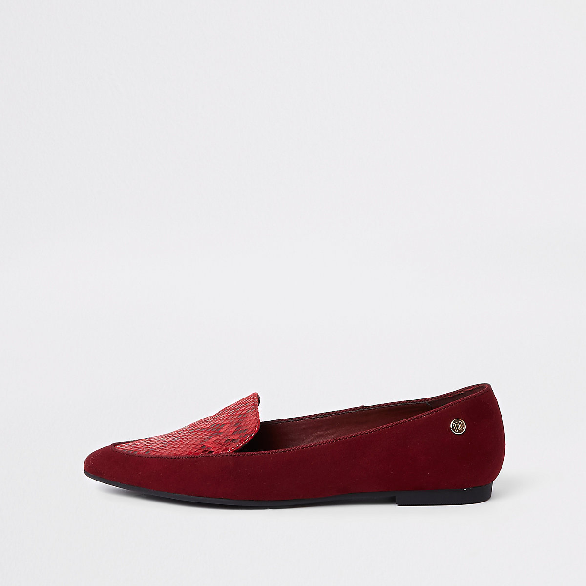 Red pointed toe croc flat shoes