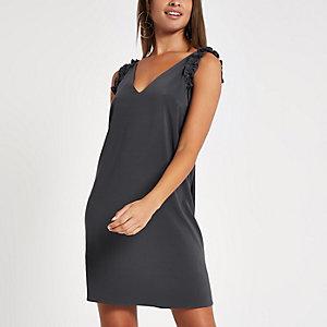 Grey ruffle sleeve slip dress