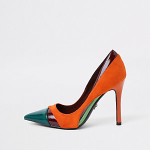 Orange color block pumps