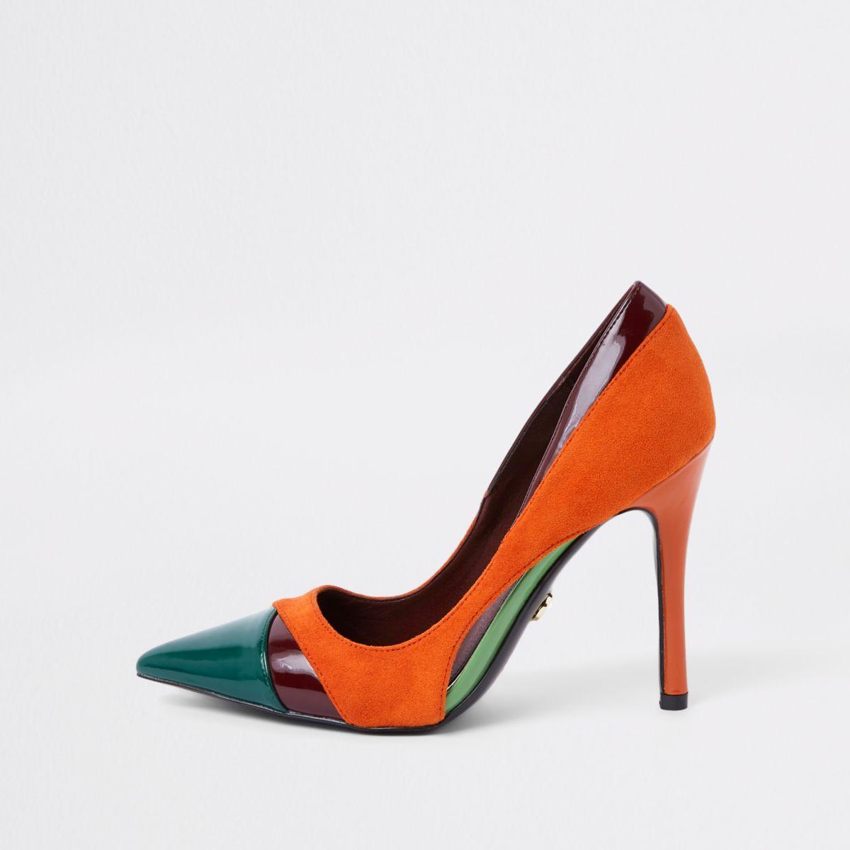 Orange color block pumps