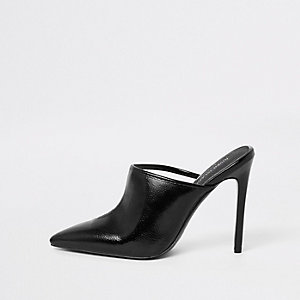 Black perspex pointed toe mule
