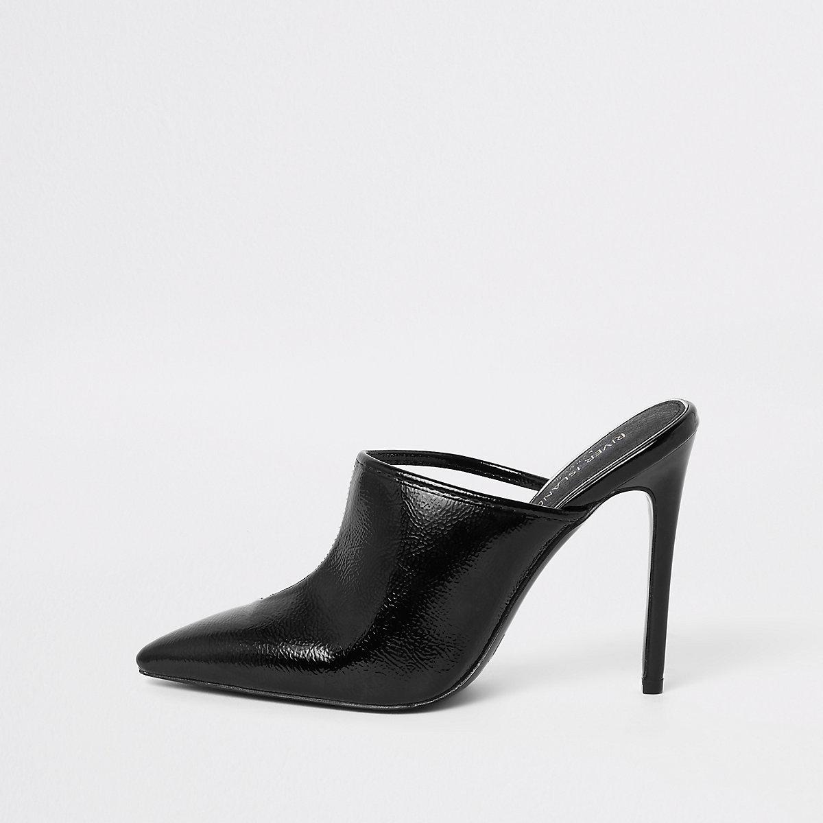 Black perspex pointed toe mule