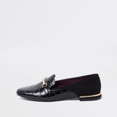 Black Gem Heel Snaffle Loafers by River Island